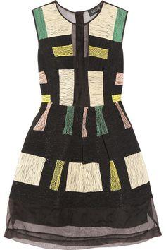 Saloni'Elsie' embroidered silk-voile dress