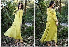 Loose Fitting Long Linen Maxi Dress - Summer Dress in Yellow- long Sleeve Sundress for Women Cotton Dress women Cotton Dress casual