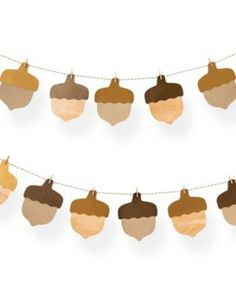 This is the perfect garland for a fall party! Get it here:http://www.bhg.com/shop/paper-source-acorn-garland-kit-p520a5c17e4b074d5543cdbf3.html