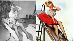 Gil Elvgren's Pin-Up Girls: Before & after | Retronaut--  reference photo and final illustration