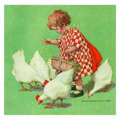 Stretched Canvas: Girl with Chickens