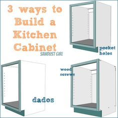 Kitchen Cabinet Remodel Three ways to build a basic kitchen cabinet --- good pro/con for each method, too. - Three ways to build DIY Kitchen Cabinets. There many different ways to join wood, keep things as simple as possible with these tips! Building Kitchen Cabinets, Diy Kitchen Shelves, Kitchen Cabinet Remodel, Kitchen Cabinet Storage, Diy Kitchen Cabinets, Built In Cabinets, How To Build Cabinets, Cupboards, Kitchen Ideas