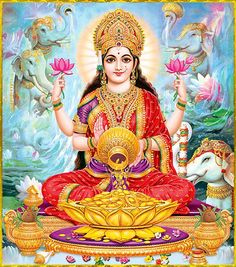 Goddess Lakshmi is called as Shri, the feminine energy of Supreme Being. She is the Goddess of Wealth and Prosperity. Worshipping her is believed to attract good fortune and abundance into one's life.