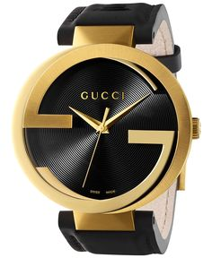 Gucci Unisex Swiss Interlocking Latin Grammy® Special Edition Black Leather Strap Watch 42mm YA133208 - Watch Brands - Jewelry & Watches - Macy's
