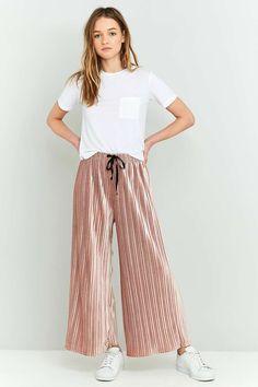 Light Before Dark Velvet Plisse Wide-Leg Trousers