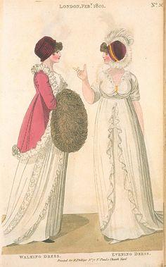Walking Dress and Evening Dress, February 1801, Fashions of London & Paris