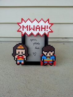 Wonder Woman and Superman Picture Frame  perler beads by BurritoPrincess