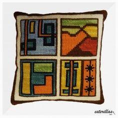 ETNICO-1-CGKWEB Needlepoint Pillows, Needlepoint Stitches, Needlework, Embroidery Kits, Cross Stitch Embroidery, Cross Stitch Patterns, Christmas Perler Beads, Cross Stitch Geometric, Cross Stitch Pillow