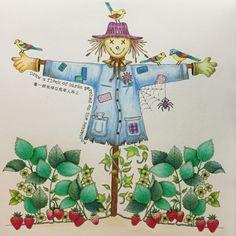 Scarecrow Secret Garden. Espantalho Jardim Secreto. Johanna Basford