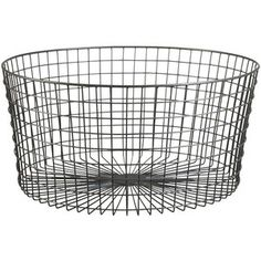 CB2 Gridlock Large Raw Industrial Basket: This would be perfect glass-top coffee table base IF it were just taller. But saved for the idea.