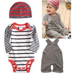 Baby Boy Suits Toddler 3pcs Set Hat+Bodysuit+Bib Pants Overall Outfit Clothes 0-3Y
