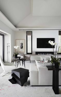 Living room Modern Living Room Design in Black & White with Abstract Art New Couch Cover Elegant Living Room, Living Room White, White Rooms, Living Room Modern, Home Living Room, Interior Design Living Room, Living Room Contemporary, Black And White Living Room Ideas, Monochromatic Living Room