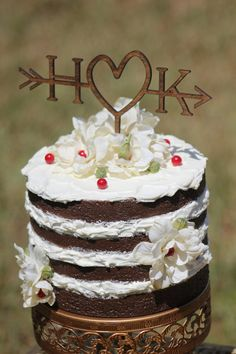 RUSTIC WEDDING ARROW CAKE TOPPER - beautiful rustic arrow cake topper with your initials also will be perfect cake topper for your…