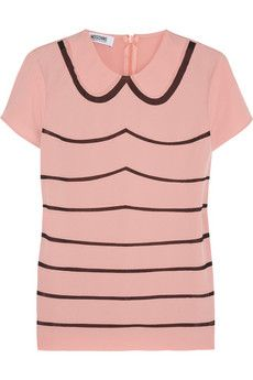 Moschino Cheap and Chic Chiffon-striped stretch-crepe top | THE OUTNET