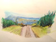 Beskid Żywiecki mountains, Poland; the drawing made with colored penciles on a paper.