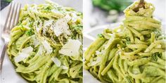 Creamy Avocado and Spinach Pasta - a creamy sauce made with avocados, spinach, basil and pecans. A super healthy and delicious pasta dish, eat without guilt. Vegetarian Recipes, Healthy Recipes, Spinach Pasta, Russian Recipes, Raw Vegan, Spaghetti, Healthy Eating, Healthy Food, Food And Drink