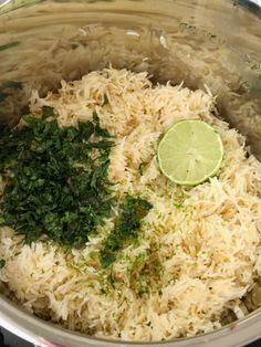 Instant Pot cilantro lime rice is so fluffy & full of lime and cilantro flavor, and is quick & easy Instant Pot recipe. Just a few simple ingredients! Paleo Recipes, Mexican Food Recipes, Cooking Recipes, Ethnic Recipes, Rice Recipes, Instant Pot Dinner Recipes, Side Dish Recipes, Side Dishes, Instant Pot Pressure Cooker