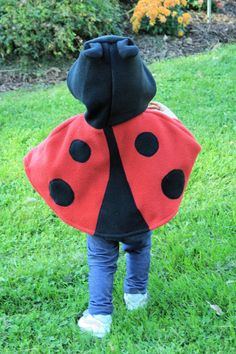 Imagine your little sweetie running around the backyard in this cute ladybug cape! Or pair it with black leggings and a long-sleeved t-shirt for an adorable Halloween costume.