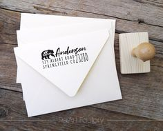 Bear Custom Family Address Stamp Custom Return Address Stamp, Business Stationary, Custom Stamps, Custom Packaging, House Warming, Personalized Gifts, Wedding Invitations, Place Card Holders, Airmail