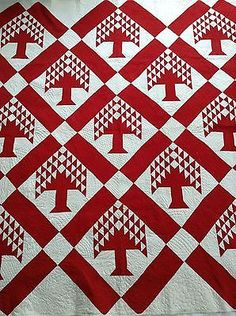 Antique 19Th C Turkey Reds Pieced Tree Quilt With Fancy Quilting