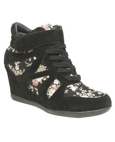 Floral Print Wedge Sneaker Never thought I would like this style shoe until I tried it on!