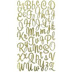 """Elegantly enhance paper crafts with these vellum Gold Sweetheart Script Alphabet Foil Stickers.    Package contains one 4"""" x 8"""" sticker sheet with 54 upper and lowercase sticker pieces."""