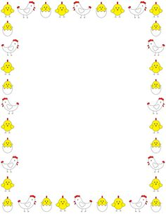 Printable chicken border. Free GIF, JPG, PDF, and PNG downloads at http://pageborders.org/download/chicken-border/. EPS and AI versions are also available.