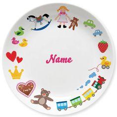 süßer Teller mit Spielzeug-Motiven für Mädchen, personalisiert mit Wunschnamen