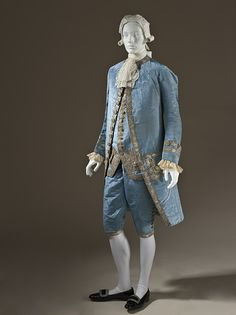 Suit, French ca. 1760 Silk plain weave (faille), moiré finish, with sequins and metallic-thread embroidery