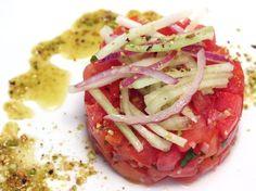 "Tomato and Watermelon ""Tartare"" with Goat Cheese-Pistachio Vinaigrette"