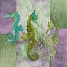 The Snooty Sisters, McKenna Ryan, Sea Breeze Quilt Block Series, Block Seahorses Ocean Quilt, Beach Quilt, Fish Quilt, Landscape Art Quilts, Landscapes, Applique Quilt Patterns, Applique Ideas, Batik Quilts, Children's Quilts