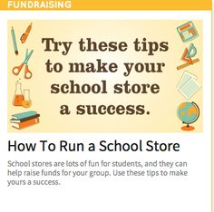 Tips for running a successful school store. Pta School, School Store, School Fundraisers, School Events, 100 Days Of School, School Counselor, Pto Today, Student Council, School Programs