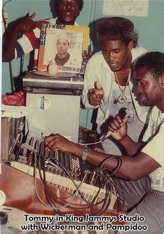 """spliffington:  (via Harold Thompson - Google) Tommyphonics with Pompidoo and Wickerman in King Jammy's studio  """