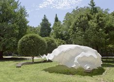 超新素材のカーボンファイバーとストレッチ性能のある布だけで自立するパヴィリオン。軽くて柔らかく、生き物のように不思議な空間をぜひ体験してみたい。 Paper Engineering, Light Architecture, Pavilion, Canopy, Design Inspiration, Sculpture, Landscape, Plants, Dormitory