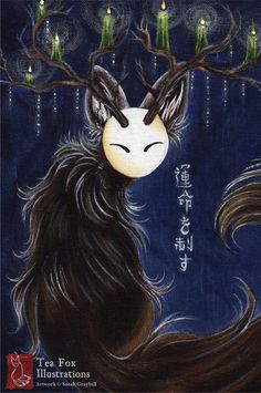Spirit Guide / Japanese Spirit, Kitsune, Yokai, Japanese Art, Asian Style  / 4x6 Glossy Postcard Rounded Corners on Etsy, $3.00