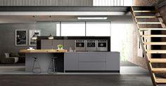 Black and white interior for kitchen
