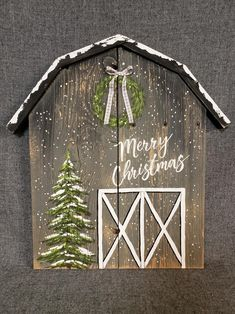 Your place to buy and sell all things handmade : Christmas barn sign Christmas painting on pallet wood Christmas Tree With Snow, Christmas Wood Crafts, Merry Christmas Sign, Pallet Christmas, Noel Christmas, Diy Christmas Ornaments, Christmas Projects, White Christmas, Christmas Decorations
