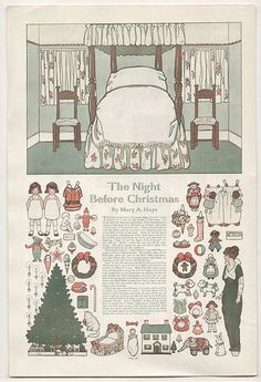 ✄ #Paper dolls........The Night Before Christmas Cut-outs - Ladies' Home Journal, 1913