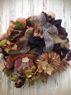 HARVEST GOODNESS fall wreath with leaves by TheLemonadeBoutique, $54.99