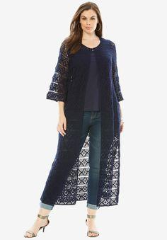 Designer Collection Bell Sleeve Crochet Cardigan, NAVY, hi-res