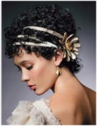 triple headband or ribbon and a flower with lots of curls.