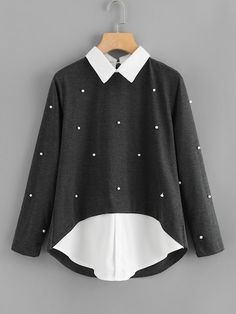 Shop Contrast Collar 2 In 1 Pearl Beading Blouse online. SHEIN offers Contrast Collar 2 In 1 Pearl Beading Blouse & more to fit your fashionable needs. Set Fashion, Girl Fashion, Fashion 2017, Fashion Trends, Girls Fashion Clothes, Fashion Dresses, Clothes Women, Women's Clothes, Cool Outfits