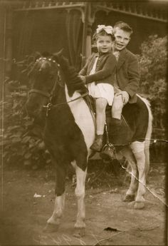 My mom and uncle....Pony portrait (1945 Kingston, Ontario)