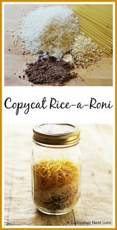 Copycat Rice-A-Roni Recipe - This is a great side dish to serve & you probably have all the ingredients in your pantry. Homemade Dry Mixes, Homemade Spices, Homemade Seasonings, Homemade Food, Homemade Rice A Roni, Homemade Gifts, Mason Jar Meals, Meals In A Jar, Do It Yourself Food