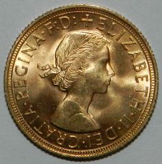 1958 GOLD QUEEN ELIZABETH THE SECOND SOVEREIGN LUSTROUS BU  GRADE $348.00 + $10.50