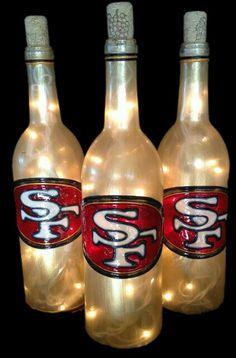 San Fransisco Wine Bottle Lamp by BottleOfLights on Etsy Painted Wine Bottles, Lighted Wine Bottles, Bottle Lights, Bottle Lamps, Liquor Bottles, 49ers Birthday Party, Football Birthday, 50th Birthday, Birthday Ideas