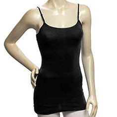 """Camisole Layering Tank Top, 23.5"""" Long w/ Built in Shelf Bra & Adustable Spaghetti Straps, Junior Sizes S-M-L. Junior Sizes Small, Medium or Large. 95% Cotton, 5% Lycra Spandex Stretchy Material w/ Satin Trim. Super Comfortable, Great for Yoga or Everyday Activities. Use for Layering Under Tops or Dresses, Cute Enough to Wear Alone. Scoop Neckline. Several Colors to Choose from. Please visit our Sunshine Casuals Storefront for more great selections. www.amazon.com/shops/AHXTTILF7MLGM."""