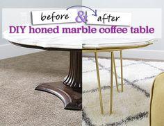 diy honed marble coffee table