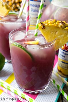 Pineapple Lime Rickey Punch - Fruity and refreshing summertime beverage the whole family will love! #ad #bh #KingofJuices