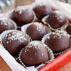 Dark Chocolate-Salted Caramel Truffles with Fleur-de-Sel